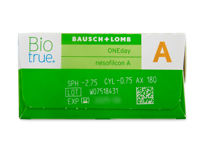 Biotrue ONEday for Astigmatism (30 čoček) - Náhled parametrů čoček