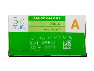 Biotrue ONEday for Astigmatism (90 čoček) - Náhled parametrů čoček