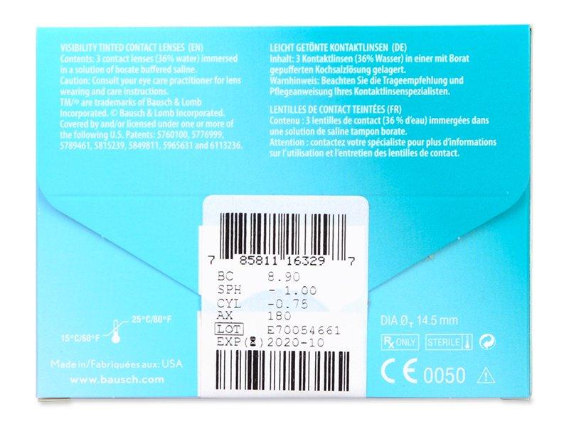 PureVision 2 for Astigmatism (3čočky) - Náhled parametrů čoček