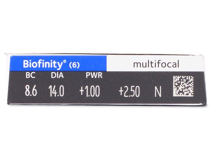 Biofinity Multifocal (6čoček) - Náhled parametrů čoček