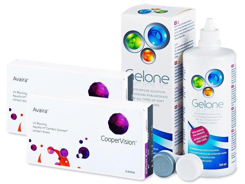 Avaira (2x3čočky) + roztok Gelone 360ml - Výhodný balíček