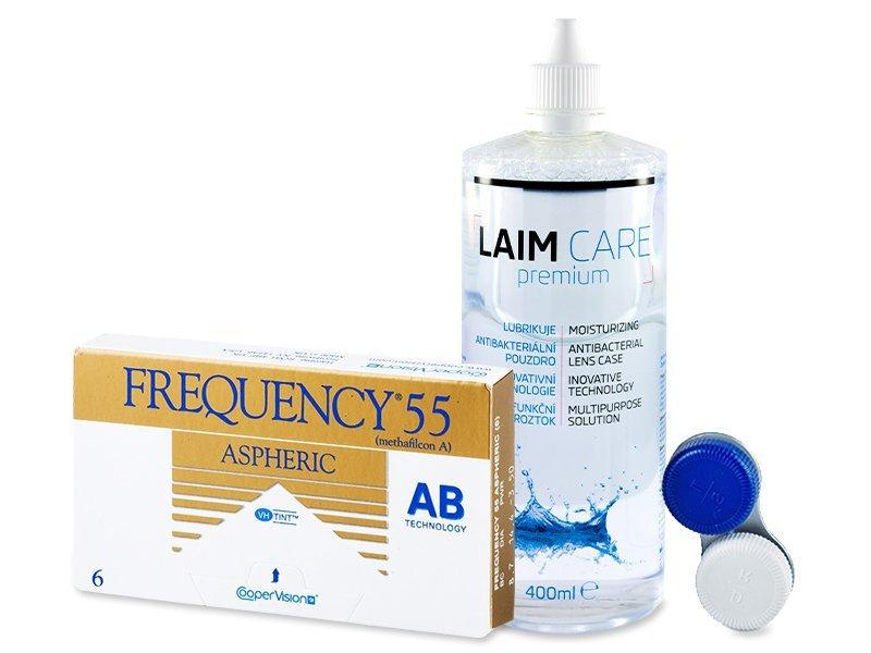 Frequency 55 Aspheric (6čoček) + roztok Laim Care 400ml - Výhodný balíček