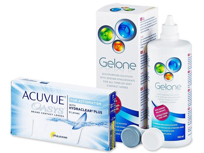 Acuvue Oasys for Astigmatism (6 čoček) +roztokGelone360ml - Výhodný balíček