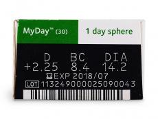 MyDay daily disposable (30čoček) - Náhled parametrů čoček