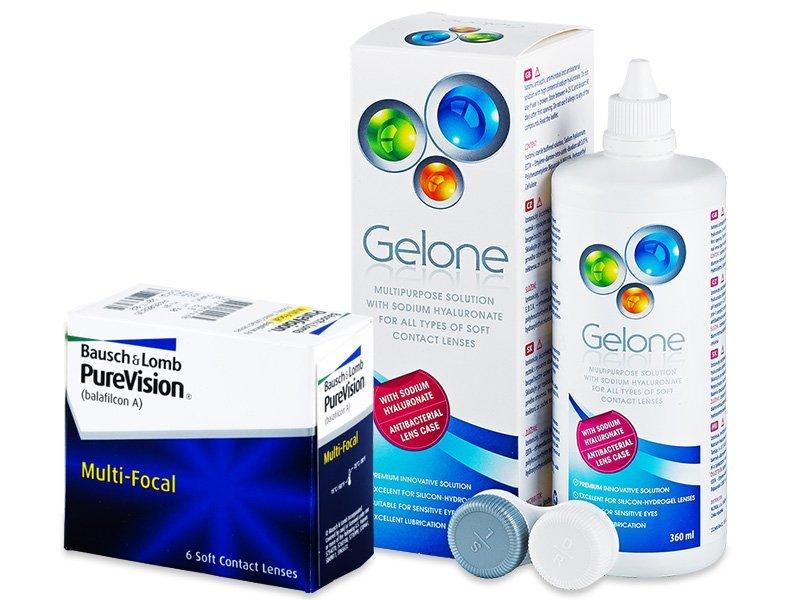 PureVision Multi-Focal (6 čoček) + roztok Gelone 360 ml - Výhodný balíček