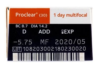 Proclear 1 Day multifocal (30čoček) - Náhled parametrů čoček