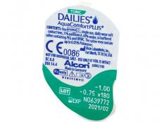 Dailies AquaComfort Plus Toric (90čoček) - Vzhled blistru s čočkou