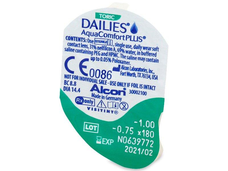 Vzhled blistru s čočkou - Dailies AquaComfort Plus Toric (90čoček)
