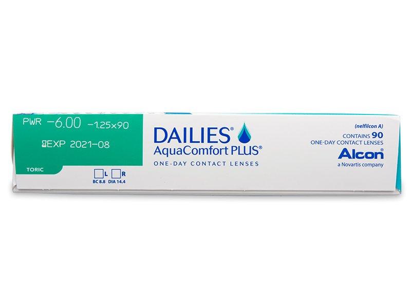 Dailies AquaComfort Plus Toric (90čoček) - Náhled parametrů čoček