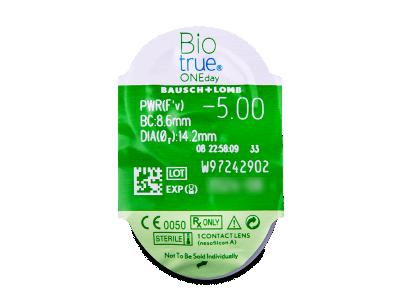 Biotrue ONEday (30čoček) - Vzhled blistru s čočkou