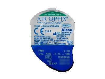 Air Optix plus HydraGlyde for Astigmatism (6čoček) - Vzhled blistru s čočkou