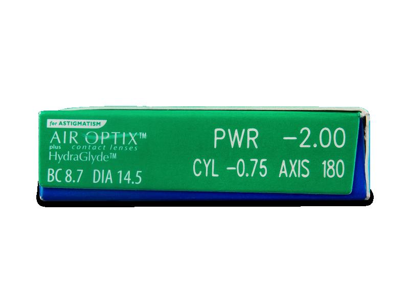 Air Optix plus HydraGlyde for Astigmatism (3 čočky) - Náhled parametrů čoček