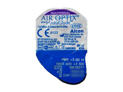 Air Optix plus HydraGlyde Multifocal (3 čočky) - Vzhled blistru s čočkou