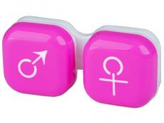 Pouzdra a kazetky - Pouzdro na čočky muž a žena - růžové