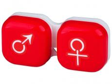 Pouzdra a kazetky - Pouzdro na čočky muž a žena - červené