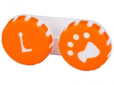 Pouzdra a kazetky - Pouzdro na čočky Tlapka - oranžové