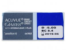 Acuvue Oasys (12čoček) - Náhled parametrů čoček