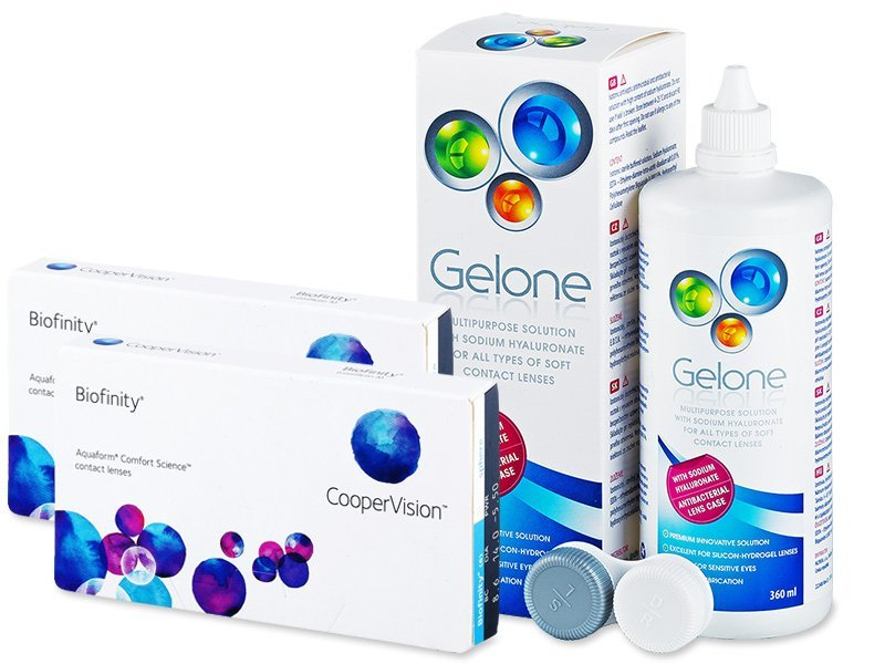 Biofinity (2x3čočky) + roztok Gelone 360 ml - Výhodný balíček
