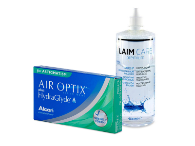 Air Optix plus HydraGlyde for Astigmatism (6 čoček) + roztok Laim-Care 400 ml