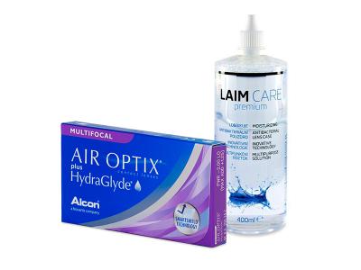 Air Optix plus HydraGlyde Multifocal (3 čočky) + roztok Laim-Care 400 ml