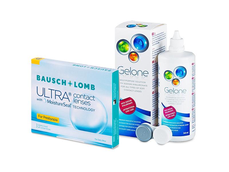 Bausch + Lomb ULTRA for Presbyopia (3 čočky) + roztok Gelone 360 ml