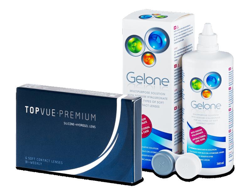 TopVue Premium (6 čoček) + roztok Gelone 360 ml - Výhodný balíček