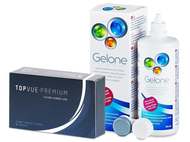 TopVue Premium (12 čoček) + roztok Gelone 360 ml