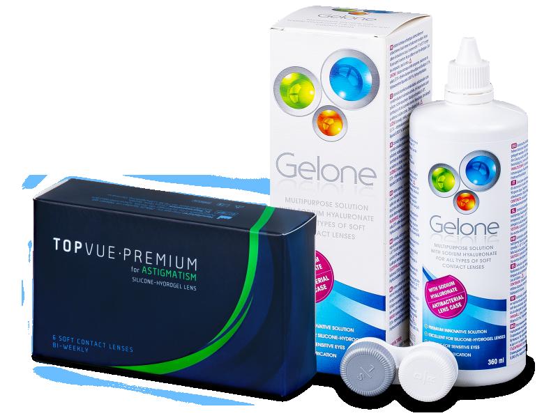 TopVue Premium for Astigmatism (6 čoček) + roztok Gelone 360 ml - Výhodný balíček