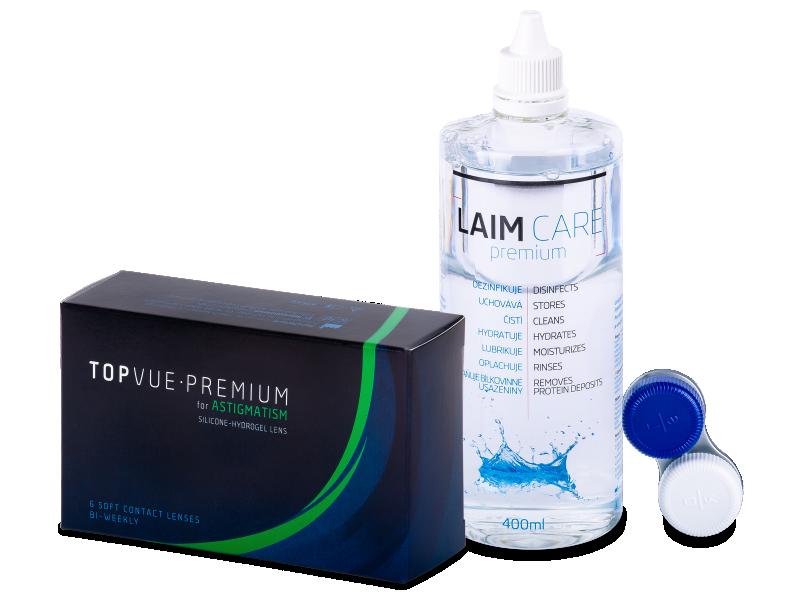 TopVue Premium for Astigmatism (6 čoček) + roztok Laim Care 400 ml - Výhodný balíček