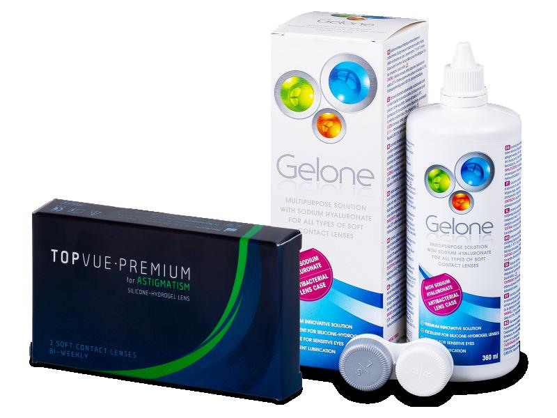 TopVue Premium for Astigmatism (3 čočky) + roztok Gelone 360 ml - Výhodný balíček
