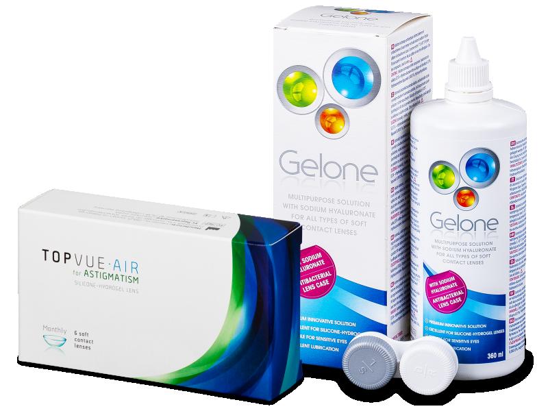 TopVue Air for Astigmatism (6čoček) + roztok Gelone 360 ml - Výhodný balíček