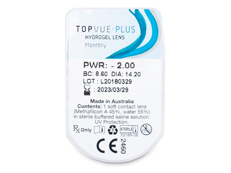 TopVue Plus (6 čoček) - Vzhled blistru s čočkou