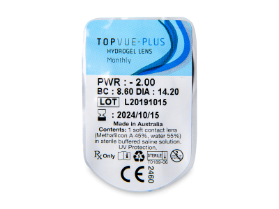 TopVue Plus (1 čočka) - Vzhled blistru s čočkou