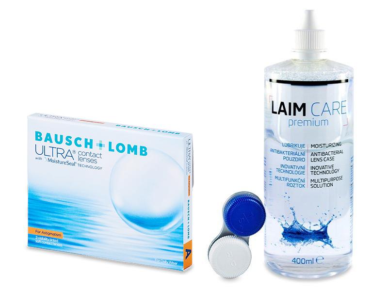 Bausch + Lomb ULTRA for Astigmatism (3 čočky) + roztok Laim-Care 400 ml - Výhodný balíček