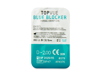 TopVue Blue Blocker (30 čoček) - Vzhled blistru s čočkou