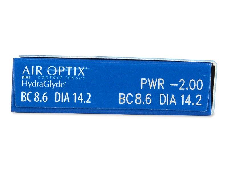Air Optix plus HydraGlyde (6čoček) - Náhled parametrů čoček