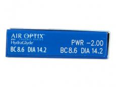 Air Optix plus HydraGlyde (3čočky) - Náhled parametrů čoček