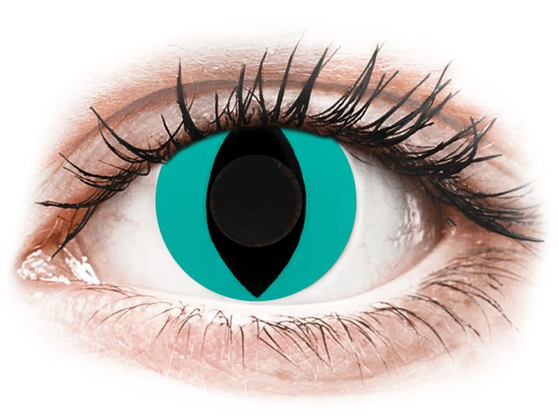 CRAZY LENS - Cat Eye Aqua - nedioptrické jednodenní (2 čočky) - Barevné kontaktní čočky