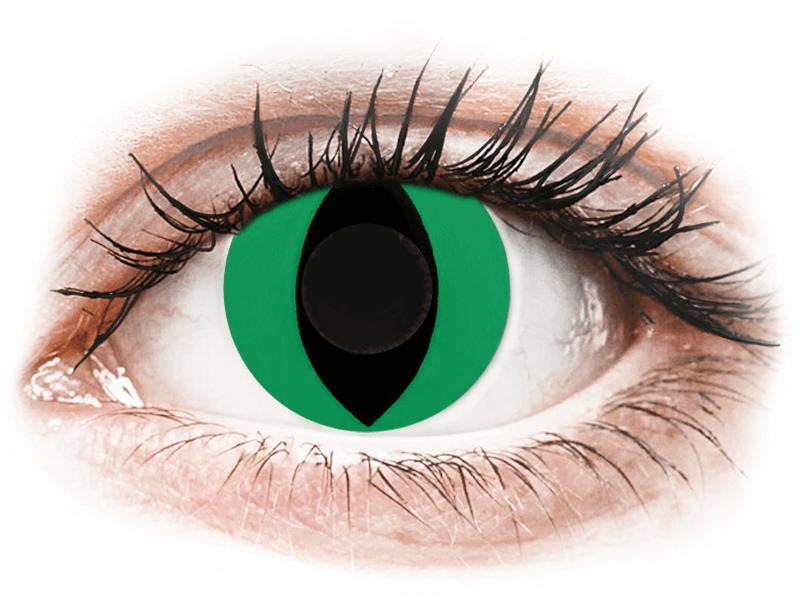 CRAZY LENS - Cat Eye Green - nedioptrické jednodenní (2 čočky) - Barevné kontaktní čočky