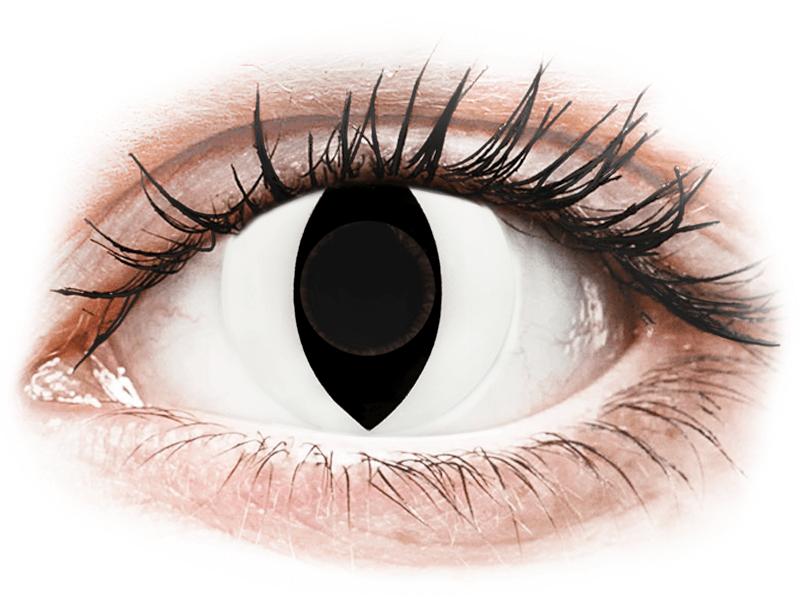 CRAZY LENS - Cat Eye White - nedioptrické jednodenní (2 čočky) - Barevné kontaktní čočky