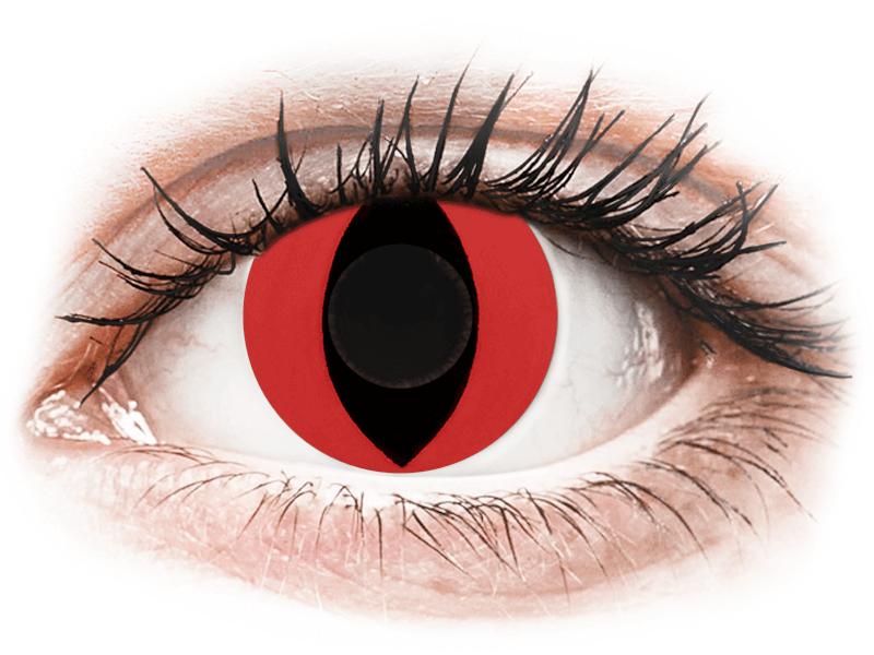 CRAZY LENS - Cat Eye Red - nedioptrické jednodenní (2 čočky) - Barevné kontaktní čočky