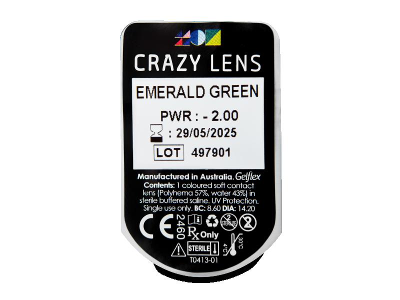 CRAZY LENS - Emerald Green - dioptrické jednodenní (2 čočky)