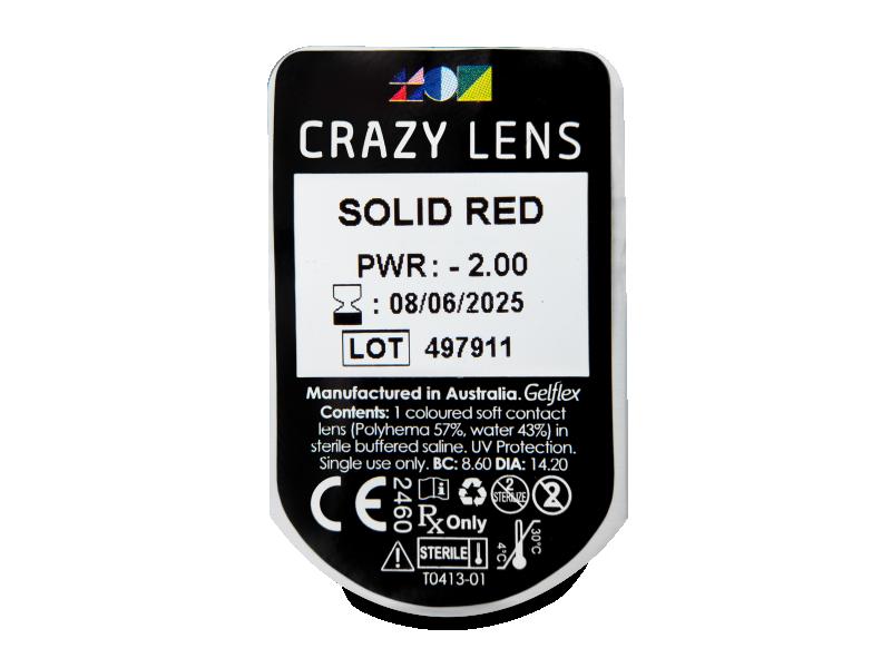 CRAZY LENS - Solid Red - dioptrické jednodenní (2 čočky)