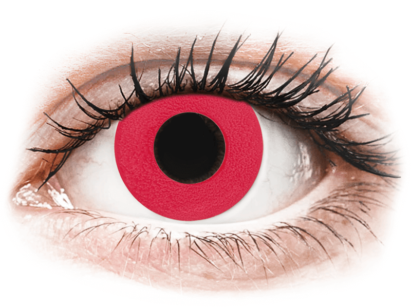 CRAZY LENS - Solid Red - nedioptrické jednodenní (2 čočky) - Barevné kontaktní čočky