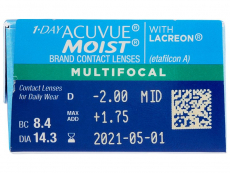 1 Day Acuvue Moist Multifocal (30 čoček) - Náhled parametrů čoček