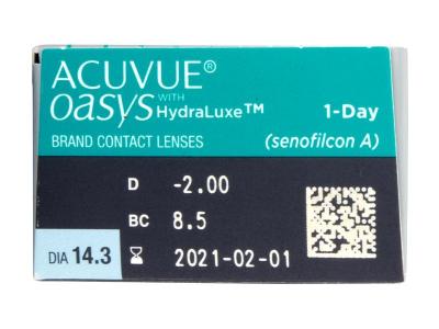 Acuvue Oasys 1-Day (30 čoček) - Náhled parametrů čoček