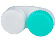 Pouzdra a kazetky - Pouzdro na čočky zeleno-bílé se znaky L+R