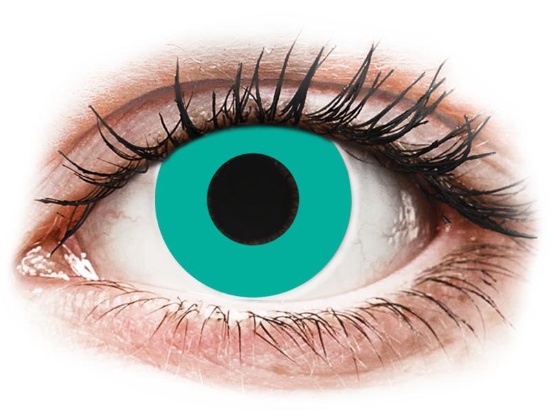 CRAZY LENS - Solid Turquoise - nedioptrické jednodenní (2 čočky) - Barevné kontaktní čočky