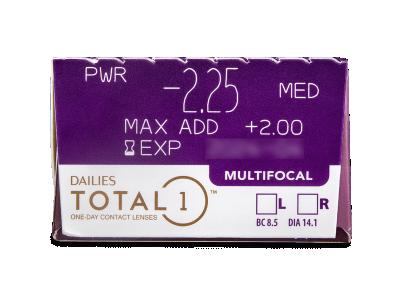 Dailies TOTAL1 Multifocal (30 čoček) - Náhled parametrů čoček