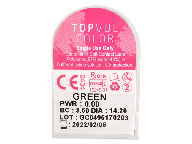 TopVue Color - nedioptrické jednodenní (10čoček) - Vzhled blistru s čočkou